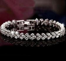 Fashion Women's Roman Chain Clear Zircon Crystal Bangle Rhinestone Bracelet Gift