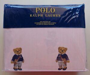 POLO Ralph Lauren Girl Teddy Bear TWIN Pink Stripe Sheet Set Cotton 3 PCS NEW