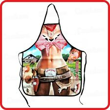 APRON-ATTITUDE FUNNY-SEXY COW GIRL COWGIRL LADY SHERIFF WANTED-COOKING-COSTUME