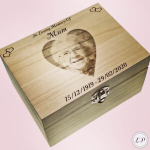 Adult Ashes Urn Keepsake Box Personalised With Photo Casket For Dad Mum Memorial
