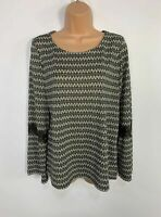 WOMENS NEXT SIZE UK 14 GREY&WHITE LONG SLEEVE CREW NECK CASUAL STRETCH T SHIRT