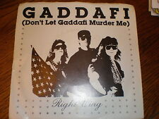 Gaddafi 45/PICTURE SLEEVE Right Wing LIMITED