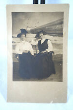 Vtg 2 Victorian Women on Beach w Waves & Pier Bkgd Orig RPPC Real Photo POSTCARD
