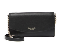 Kate Spade Eva Wallet on a Chain Black Warm Beige Leather WLRU5359