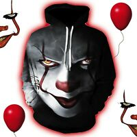 Casual Hoodie Pullover Halloween Pennywise Clown Mens Womens Sweatshirt Jumper