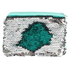 Reversible Sequin Purse Green / silver Zip fastening Pouch 14.5 x 11cm New