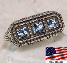 1CT Aquamarine 925 Solid Sterling Silver Art Deco Filigree Ring Jewelry Sz 8