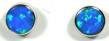4mm Round shape Blue Fire Opal Inlay 925 Sterling silver stud post earrings