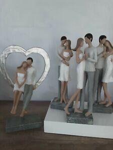 Gilde Paar Liebespaar Figur Figuren weis grau Skulptur Hochzeit Herz NEU