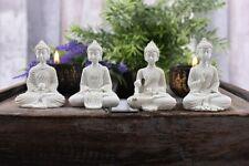 Great Set Of 4 White Resin Mini Buddha's Ornaments