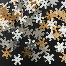 Snowflake Sequins 250 x 14 mm. Loose Mix of White/Silver/Gold. Christmas/Crafts