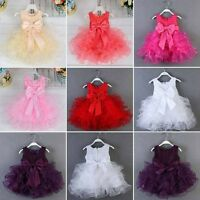 US Flower Girls Dress Petals Princess Party Wedding Birthday Pageant Tutu Dress