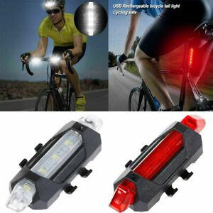 USB Rechargeable Bike Lights Front Rear Hazard Light Waterproof 5 LED Red/White