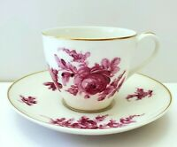 ANTIQUE LIMOGES FRANCE THEODORE HAVILAND LAVENDER ROSE DEMITASSE CUP & SAUCER