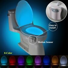 Sensor Toilet Light 8 Color LED Motion Activated Bathroom Seat Night Light Bowl