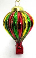 A102 Hot Air Baloon Yellow Green  Red Glass Ball Bauble Christmas Tree Ornament