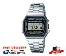 NEW CASIO A168W UNISEX VINTAGE STAINLESS STEEL ALARM CHRONOMETER RETRO WATCH