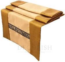 Gold Yellow Thai Elephants Rectangular Silk Wedding Bed Table Runner 14x90 inch