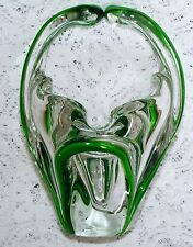 """Heavy  Double  Cased  Glass  7""""  Basket   White  Glass  With  Green  Slip  Trail"""