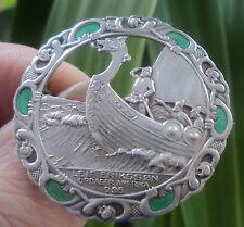 Norwegian Silver Enamel Brooch Norne / Aksel Holmsen Norway 1930s Leif Eriksson
