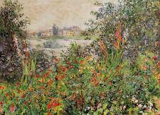 Dream-art Oil painting Claude Monet  Flowers at Vetheuil spring landscape canvas