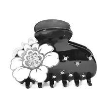 Moliabal Milano Medium Hair Claw- Black with White Flower & Rhinestones