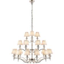 Avery Ceiling Pendant Chandelier Light–21 Lamp Bright Nickel & Beige Pleat Shade