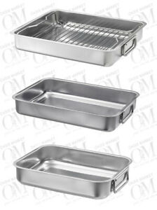Stainless Steel Deep Roasting Tin Oven Pan Grill Baking Tray Solid Durable Dish