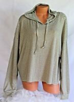 RUE PLUS (2X) Hooded Knit Top SOFT Pullover Grey Ivory Striped Sport Hoodie