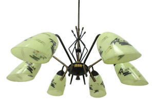 Mid Century Spider Chandelier 6 Lights Arms Wrought Iron Glass Shades Palmtrees
