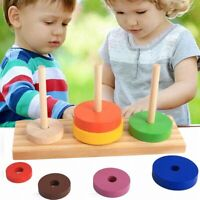 Wooden Puzzle Stacking Tower of Hano Kids Math Montessori Early Educational Toys