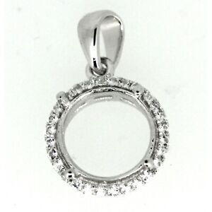 Sterling Silver Semi Mount Pendant Setting Round RD 10x10mm Not Rhodium Plated