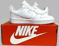 NIKE Court Borough Low 2 White Leather Shoe Youth 7/Women's 8.5 BQ5448100 IN BOX