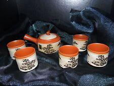 Kafuh Tea Set Pottery 6 pc Japanese Hand Painted Tree with Side Handle
