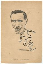Cricket England Les Jackson 1950 sketch by cartoonist R Booch India Ӝ