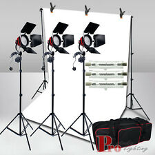 Studio Photo White Backdrop+3x800W Redhead Continuous LIghting Light Stand Kit