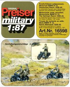 Preiser 16598 Motorrad BMW R 12  Kradschützen aufgesessen