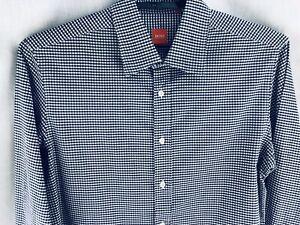 HUGO BOSS Orange Label Casual Dress Shirt Mens XL Blue White Checkered Plaid