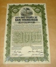 ORIG 1912 $1000 PANAMA PACIFIC EXPOSITION CITY & COUNTY OF SAN FRANCISCO BOND