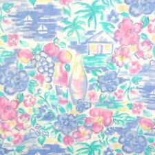 6.9 Yards 1980s Vintage Fabric Pastel Abstract Floral Medium Lightweight
