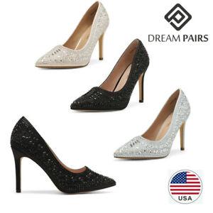 DREAM PAIRS Women's Slip On Pump Shoes Wedding Party High Heel Pump Dress Shoes