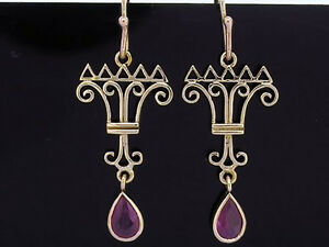 CE293 - Exquisite Genuine 9ct SOLID Yellow Gold NATURAL Ruby Crown Drop Earrings