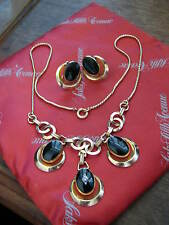 "Curtman Co. ""CM"" 1939-1949 ONYX & DIAMOND Necklace & Earrings GALLIANO MANZOTTI"