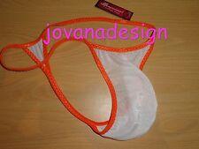 Jovanadesign Homme Plain String, Triangle arrière, blanc glissenette Transparent/Orange, L