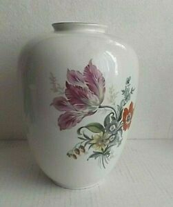 1 Weimar Vase mit Blumendekor Kugelvase ca 23 cm hoch