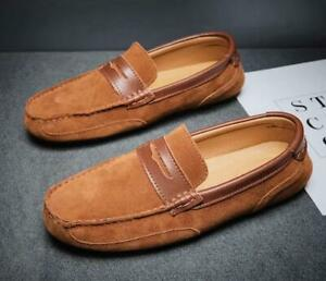 Casual Mens Suede Leather Driving Loafers Moccasin-Gommino Slip On Penny Shoes B