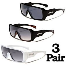 3 PAIR Biohazard Thick Boxy Square Frame Men's Sunglasses Amplifier Shades