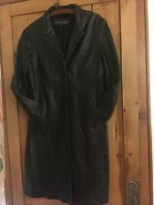 LONG BLACK GENUINE LEATHER TRENCH COAT SIZE 16 RIVER ISLAND