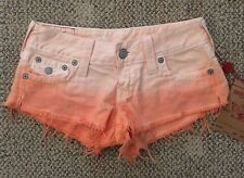 True Religion Joey Cut Off Ombre Orange Short Shorts Young Womens Size 26