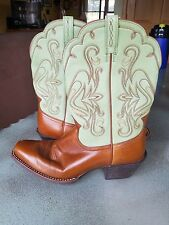 Ariat Leather Mens 11 B Narrow Cowboy Boot Cognac Brown & Mint Green